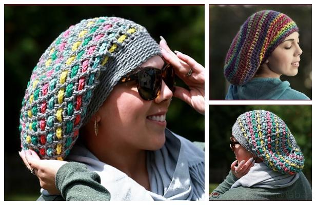 Chain Weaver Slouchy Hat Free Crochet Pattern