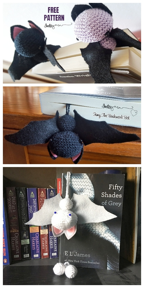 Crochet Bat Bookmark Amigurumi Free Pattern