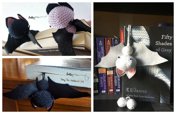 Crochet Bat Bookmark Amigurumi Free Pattern for Halloween