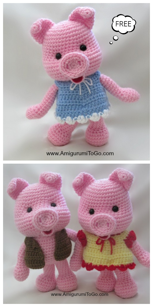 Crochet Dress Up Pigs Amigurumi Free Pattern + Video