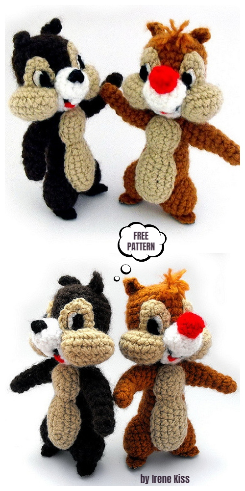 Crochet Chip & Dale Amigurumi Free Pattern