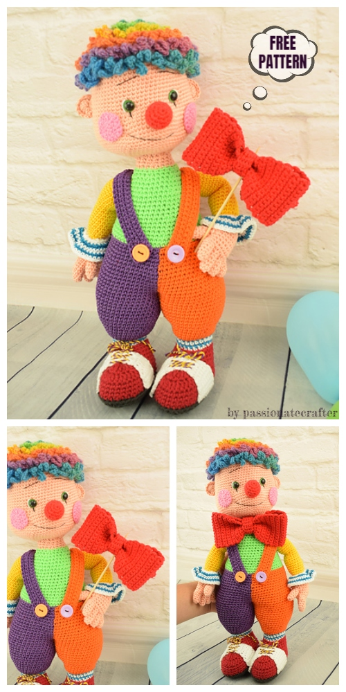 Crochet Doll- Fooly The Clown Amigurumi Free Pattern