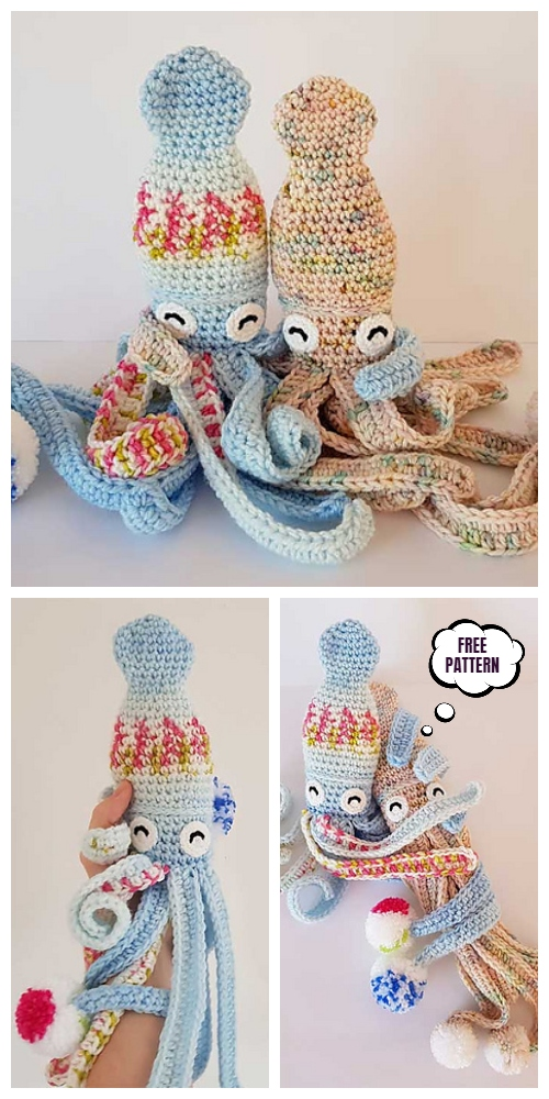 Crochet Hubble the Squid Amigurumi Free Pattern