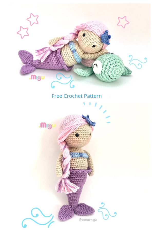 Crochet Aurora Mermaid Doll Amigurumi Free Patterns