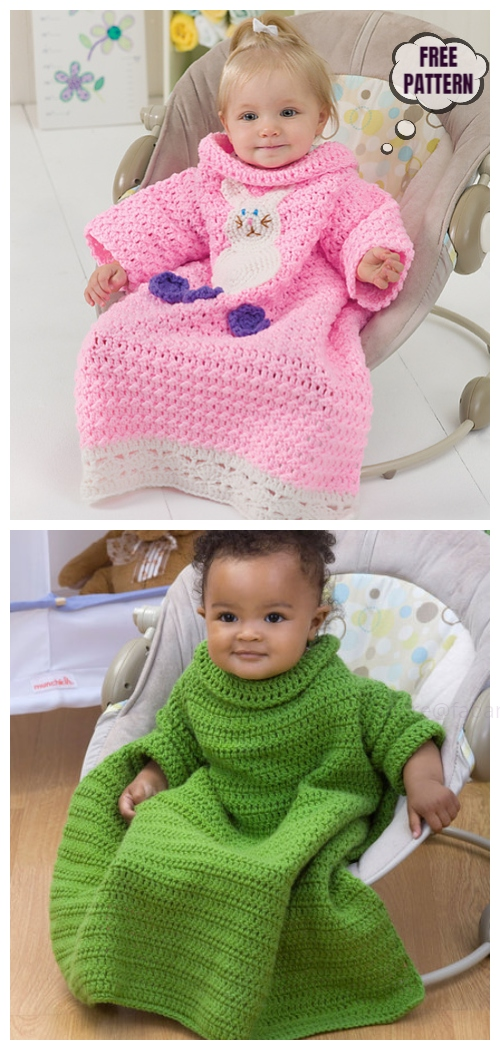 Crochet Baby Snuggle Up Blankets With Sleeves Free Patterns