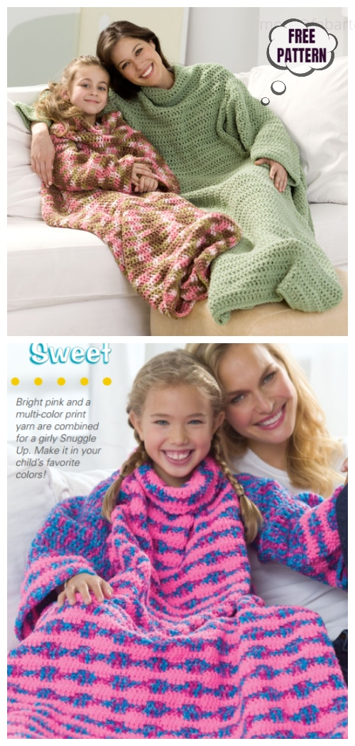 Crochet Snuggle Up Throw with Sleeves Free Patterns