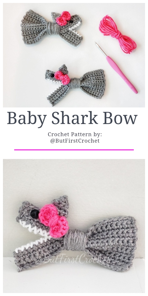 Crochet Baby Shark Bow Crochet Pattern