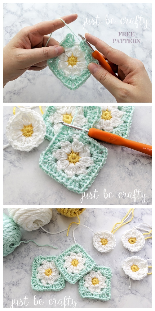 crochet Daisy Granny Square Free Crochet Patterns + Video