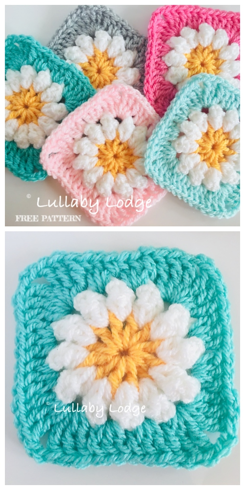 crochet Daisy Granny Square Free Crochet Patterns