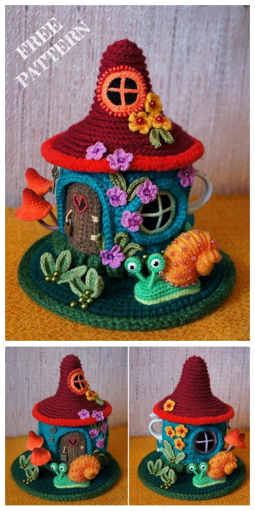 Crochet Fairy House Teapot Cozy Free Crochet Patterns