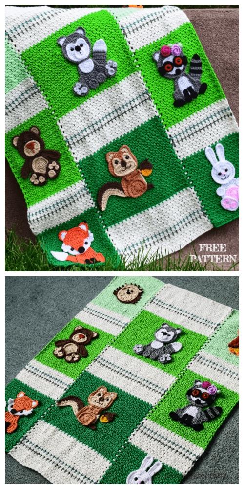 Crochet Forest Friends Baby Blanket Free Crochet Pattern