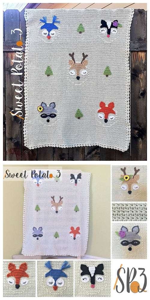 Crochet Forest Friends Baby Blanket Crochet Pattern