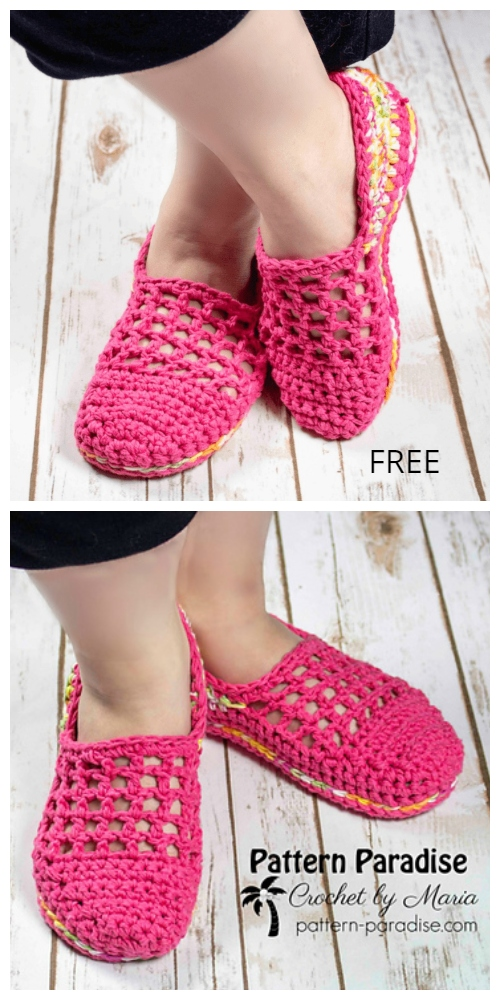 Crochet Mesh Top Jelly Slippers Free Crochet Pattern