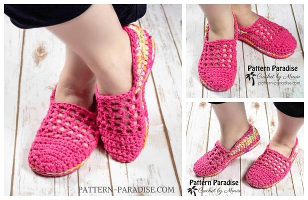 Crochet Mesh Top Jelly Slippers Free Crochet Pattern