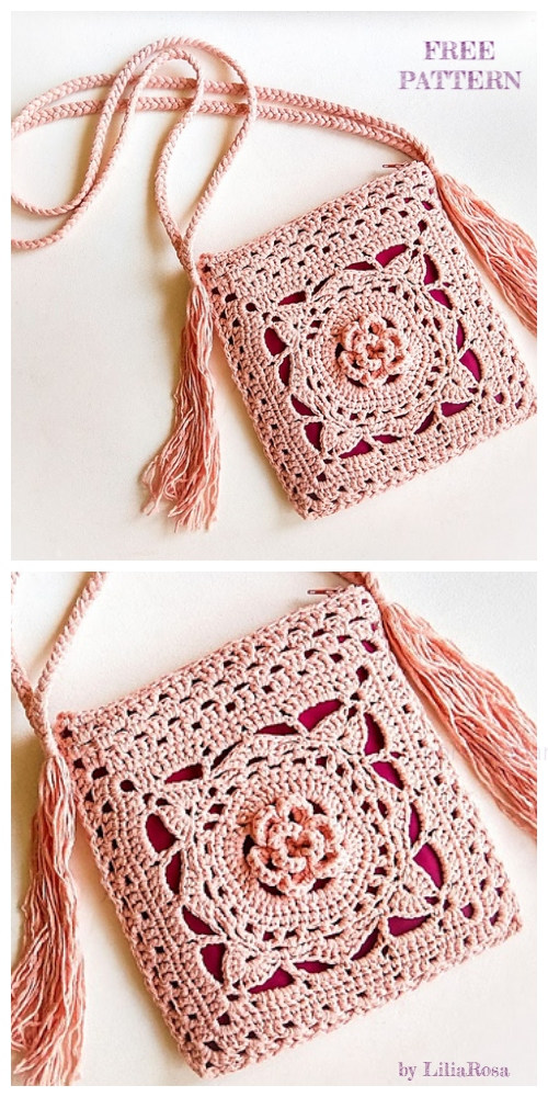 Crochet Jude Flower Square Bag Free Crochet Patterns
