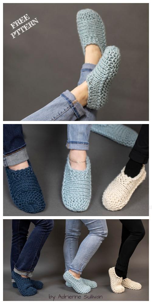 Knit Cloud Slippers Free Knitting Pattern