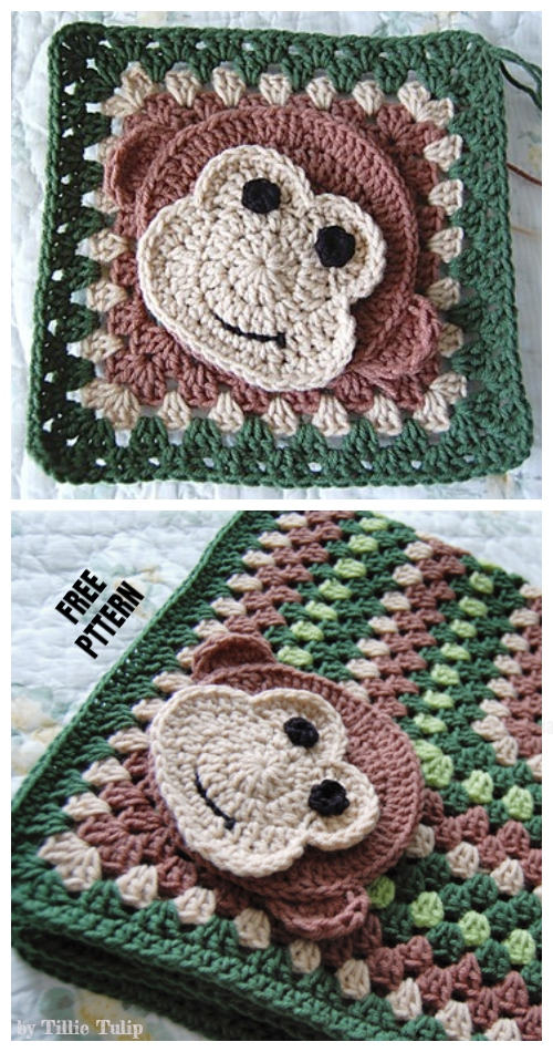 Crochet Little Monkey Granny Square Free Crochet Pattern