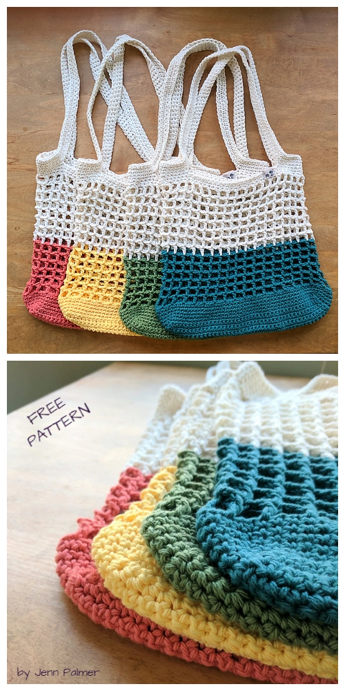 Mesh Color Block Market Bag Free Crochet Patterns