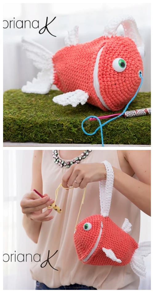 Crochet Fish Yarn Buddy Bag Crochet Pattern