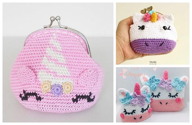 Unicorn Coin Purse Free Crochet Patterns & Paid