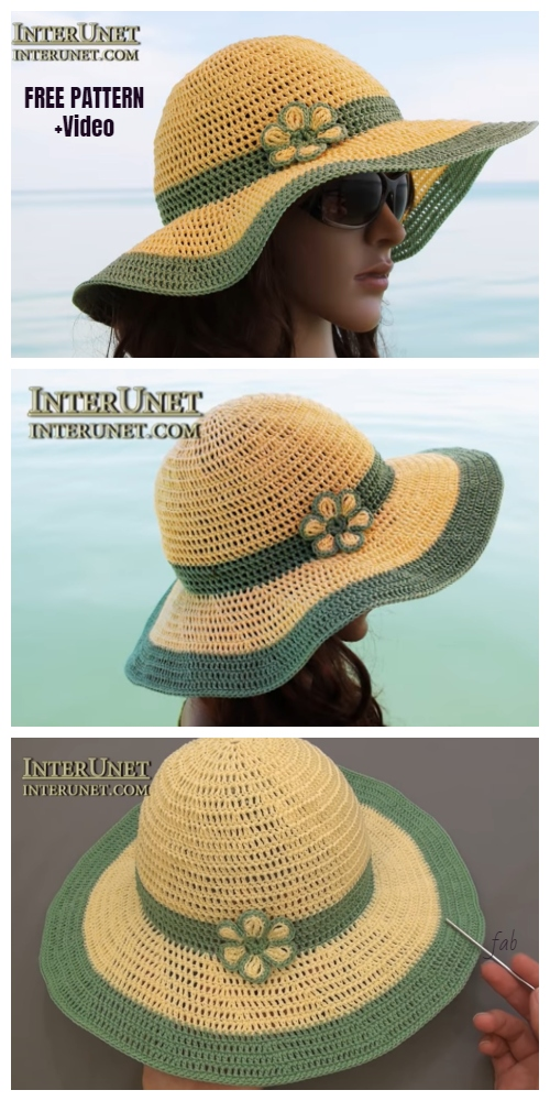 Crochet Summer Sun Hat Free Crochet Pattern + Video
