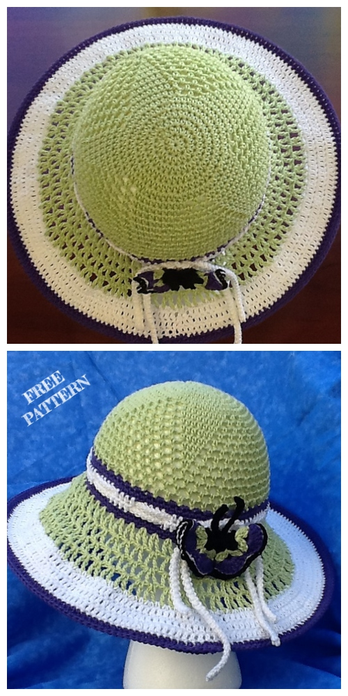 Wide Brim Summer Straw Sun Hat Free Crochet Pattern