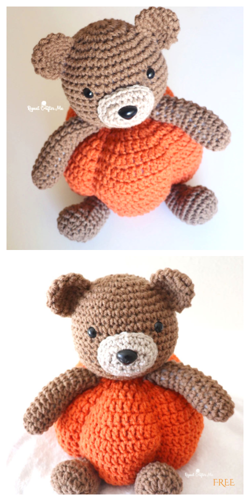 Halloween Crochet Pumpkin Bear Amigurumi Free Patterns