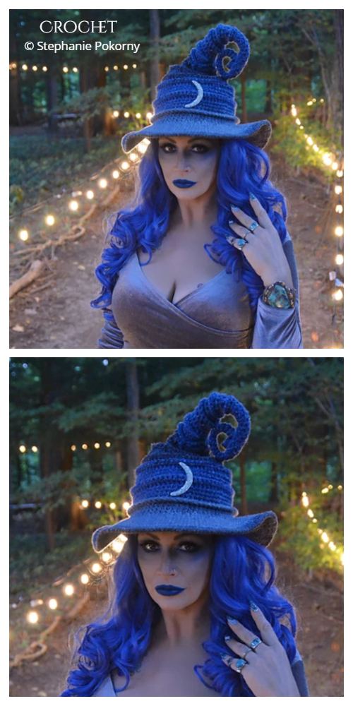 Adult Halloween Twisted Witch Hat Crochet Patterns