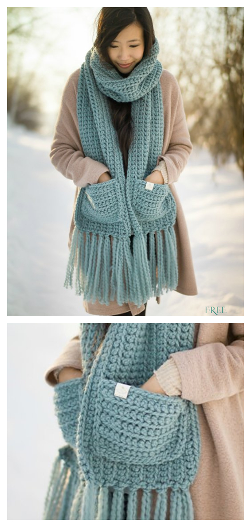 The Willow Pocket Scarf  FREE Crochet Pattern