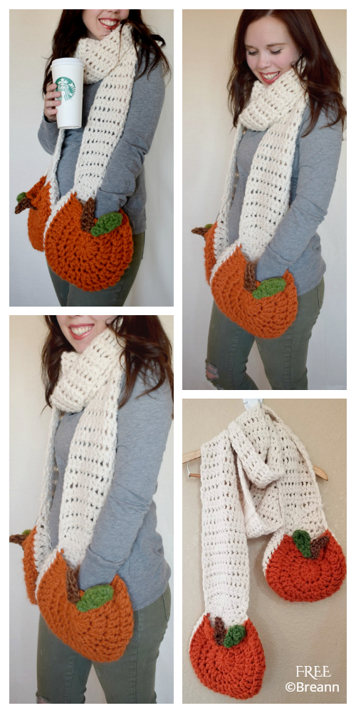 Super Pumpkin Pocket Scarf  FREE Crochet Pattern