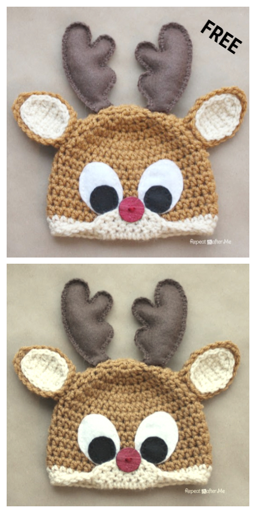 Christmas Baby  Rudolph the Reindeer Hat Free Crochet Patterns