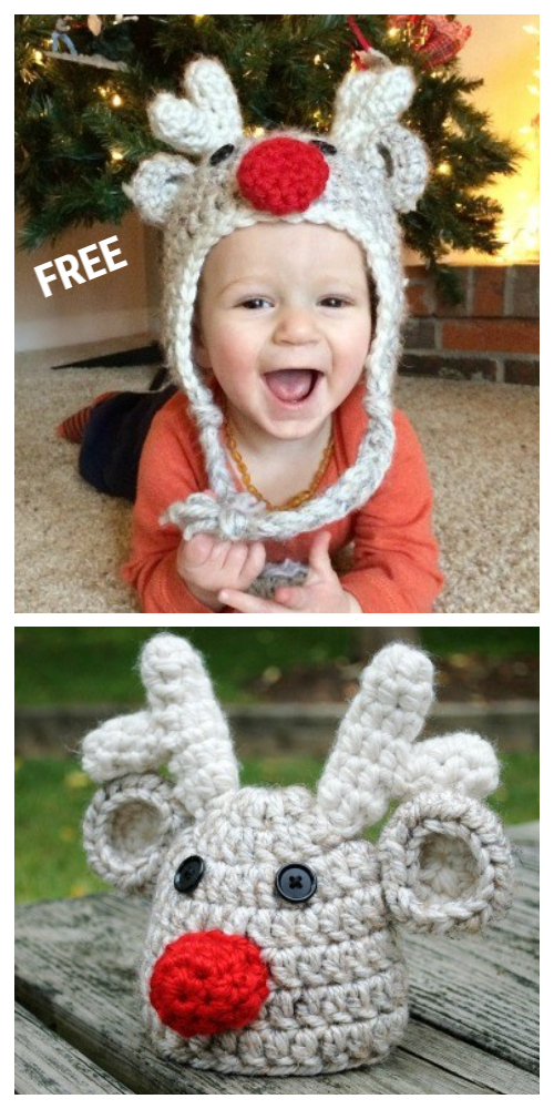 Christmas Baby Reindeer Hat Free Crochet Patterns