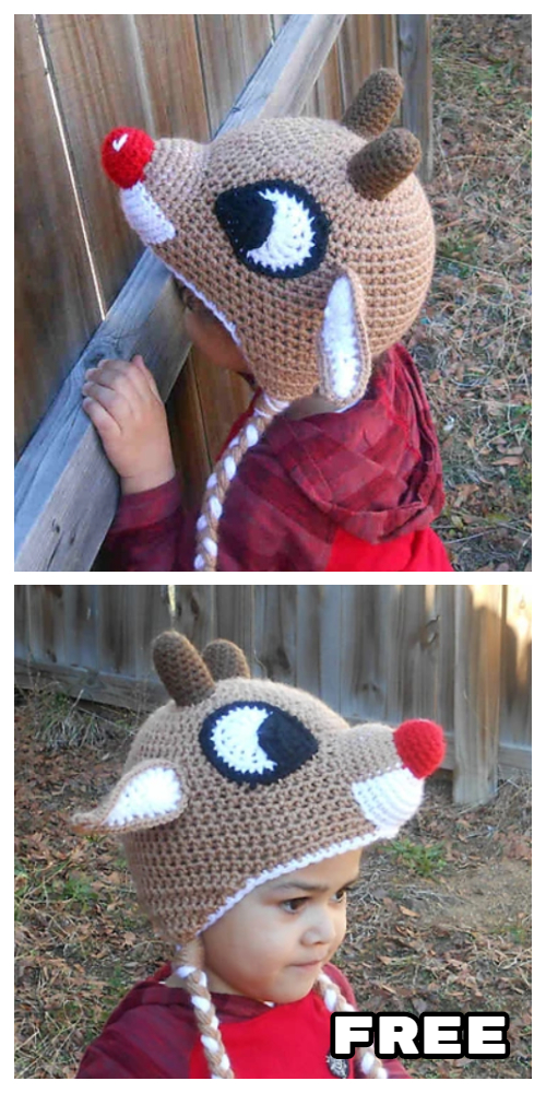 Christmas Red-Nosed Reindeer Hat Free Crochet Patterns