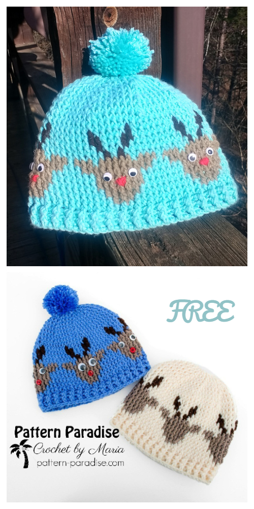 Christmas Baby Reindeer Hat Beanie Free Crochet Patterns