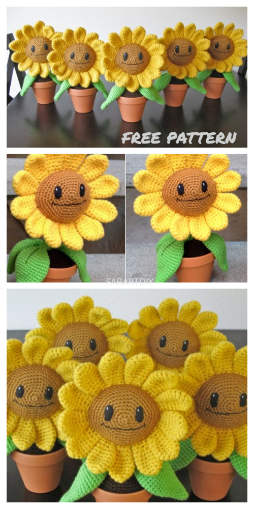Crochet 3D Potted Sunflower Amigurumi Free Crochet Patterns