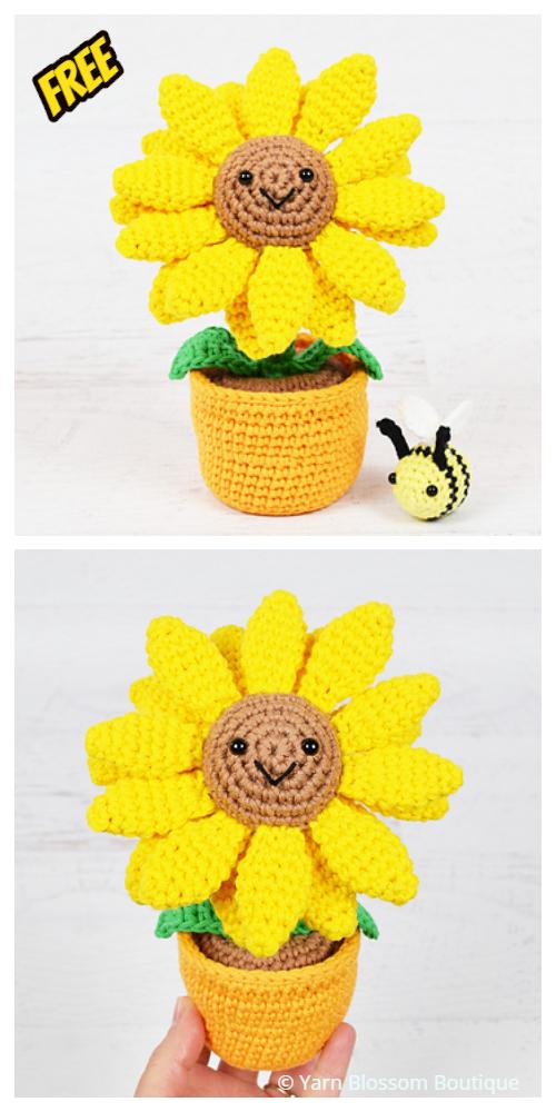 Crochet 3D Potted Sunflower Amigurumi Free Crochet Patterns