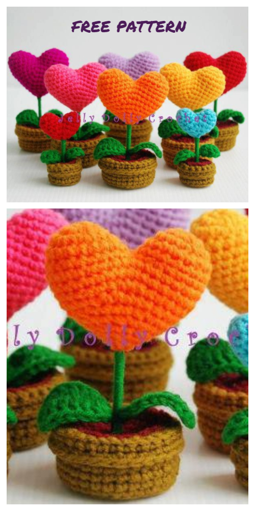 Crochet 3D Potted Sunflower Free Crochet Pattern - Crochet Heart Bougquet Amigurumi Free Pattern