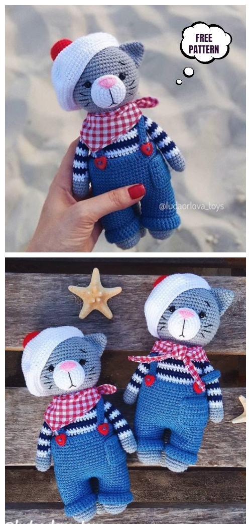 Crochet Jeremy the Cat in Hat Amigurumi Free Patterns