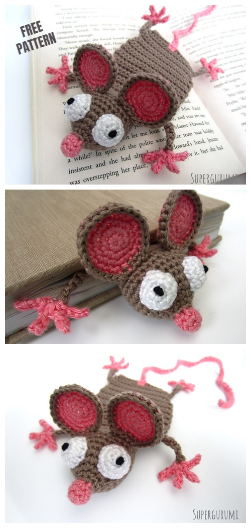 Crochet Rat Bookmark Amigurumi Free Patterns with Video