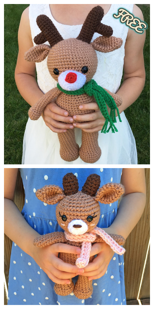 Crochet The Reindeer Amigurumi Free Patterns- 2 Sizes