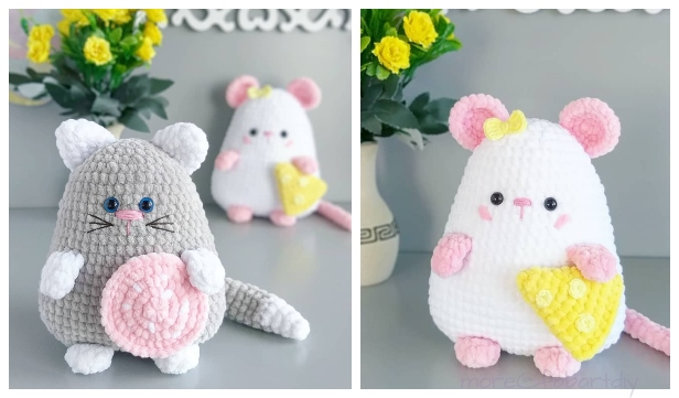 Crochet Squishy Cat and Mouse Amigurumi Free Patterns