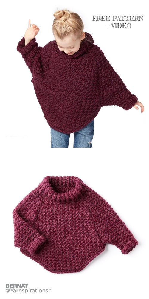 Curvy Crochet Cowl Pullover Sweater Free Crochet Patterns - 6 years kids