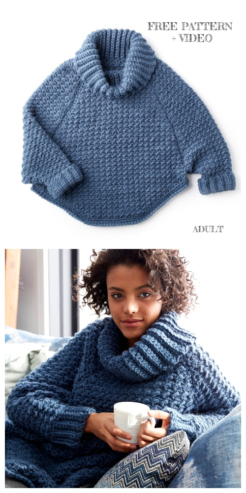 Curvy Crochet Cowl Pullover Sweater Free Crochet Patterns - Women