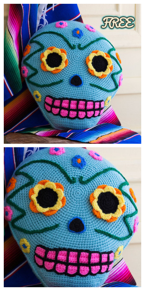 Crochet Day Of The Dead Skull Pillow Free Crochet Pattern