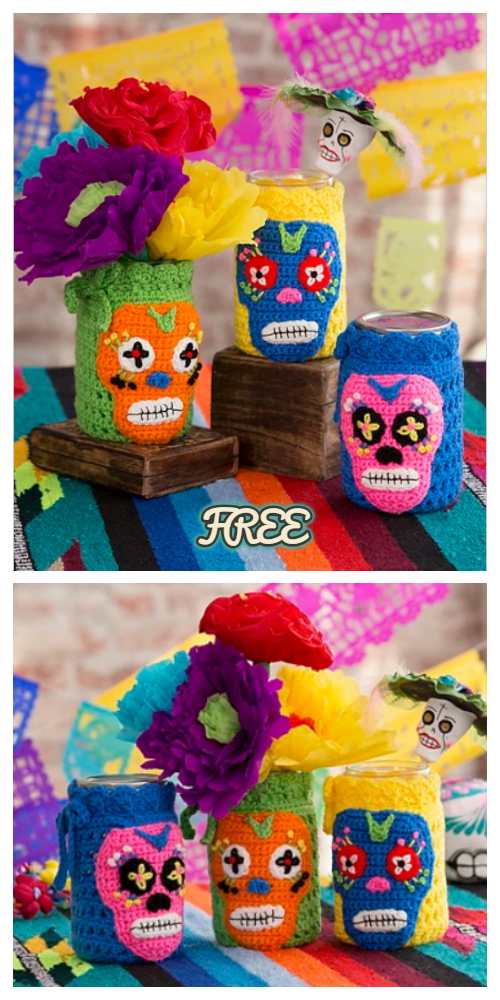 Crochet Day Of The Dead Skull Jar Cozy Free Crochet Pattern