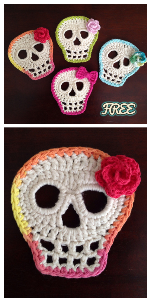 Crochet Day Of The Dead Skull Applique Free Crochet Pattern