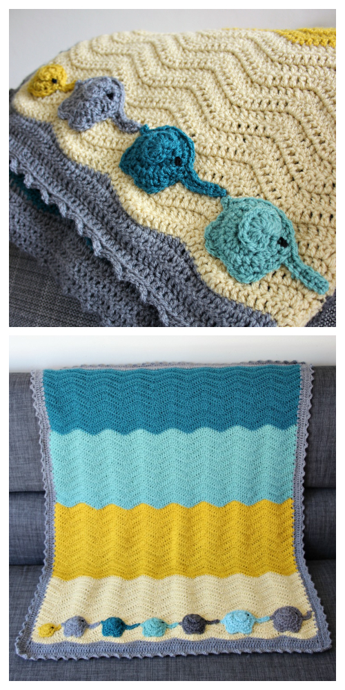 Elephant Ripple Blanket Free Crochet Pattern