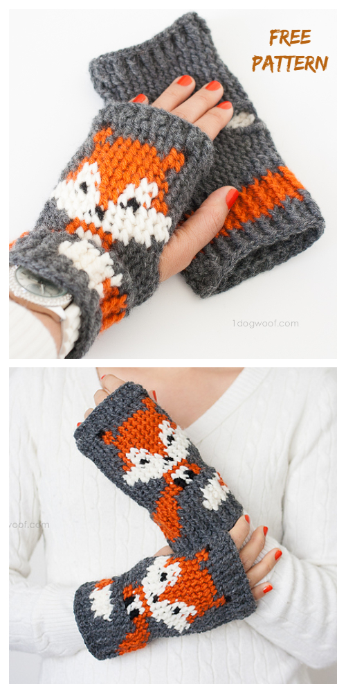 Crochet Fox Fingerless Gloves Free Crochet Patterns