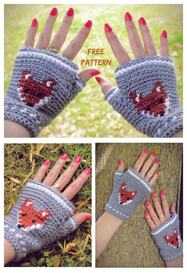 Crochet Mr Fox Fingerless Gloves Free Crochet Patterns