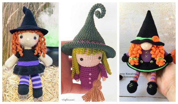 Halloween Crochet Witch Doll Amigurumi Free Patterns & Paid